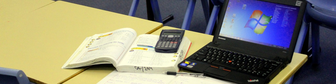 A students desk in a mathematics class.